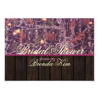 Camo Wood Pink Bridal Shower Invitation
