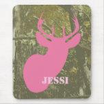 Camo y ciervos rosados Mousepad Tapetes De Raton