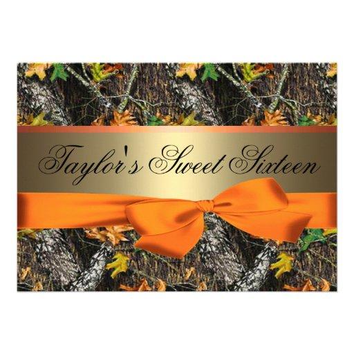 Camo y invitación anaranjada del dulce dieciséis