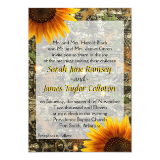 Camo y invitación del boda del girasol