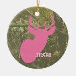 Camo y ornamento personalizado cabeza rosada de lo ornamentos de navidad