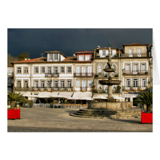 Camoes square in Ponte de Lima, Portugal Card