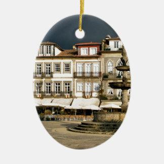 Camoes square in Ponte de Lima, Portugal Ceramic Ornament