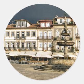 Camoes square in Ponte de Lima, Portugal Classic Round Sticker