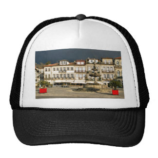 Camoes square in Ponte de Lima, Portugal Mesh Hats