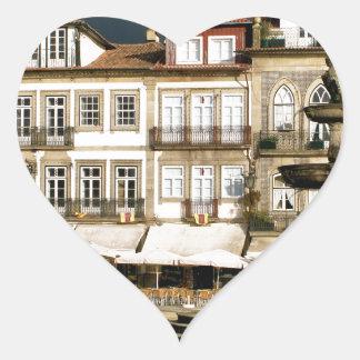 Camoes square in Ponte de Lima, Portugal Heart Sticker