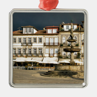 Camoes square in Ponte de Lima, Portugal Metal Ornament