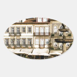 Camoes square in Ponte de Lima, Portugal Oval Sticker