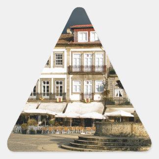 Camoes square in Ponte de Lima, Portugal Triangle Sticker