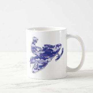 Camoflage azul Snowmobiler Taza De Café