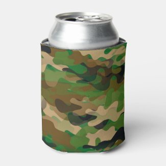 Camoflage Can Cooler Green Brown Beige