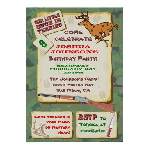 Personalized hunting birthday invitations custominvitations4u camoflage deer hunting birthday party custom invite filmwisefo