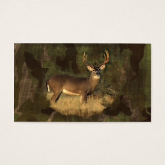 Camoflage Grunge Big Buck- No Text Biz Card