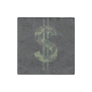 Camoflage Money Symbol Stone Magnet