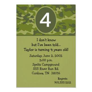 Camoflauge Birthday Invitations