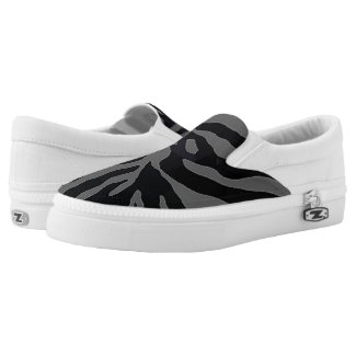 CamoflaugeZipz Black and Gray Slip On Shoes Printed Shoes