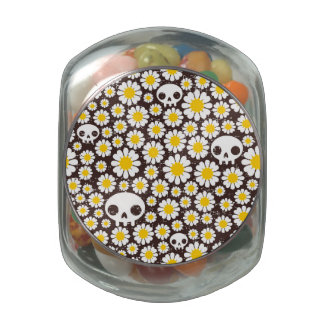 Camomile And Skull Pattern Glass Jars