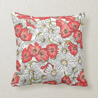 Camomille and Poppy flowers Pillows