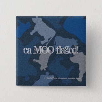 CaMOOflage Cow collage in blue Pinback Button