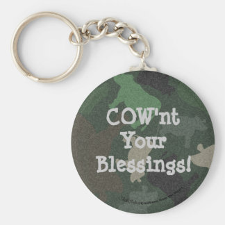 CaMOOflage Cow collage in green Basic Round Button Keychain