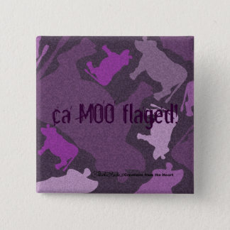 CaMOOflage Cow Collage in Purple Button