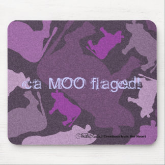 CaMOOflage Cow collage in purple Mouse Pads