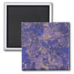Camouflage against blue flower 2 inch square magnet
