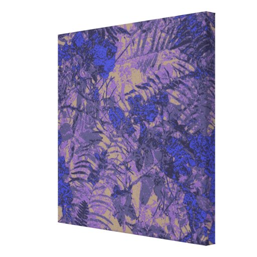 Camouflage against blue flower canvas print