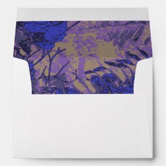 Camouflage against blue flower envelope