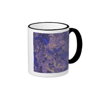 Camouflage against blue flower ringer coffee mug