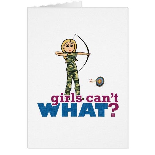 Camouflage Archery Girl - Blonde Card