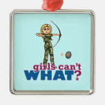 Camouflage Archery Girl - Blonde Square Metal Christmas Ornament