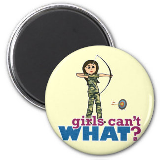 Camouflage Archery Girl - Light 2 Inch Round Magnet