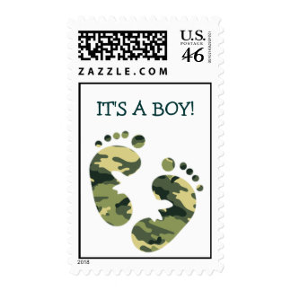 Camouflage Army Green Baby Feet IT S A BOY STAMP