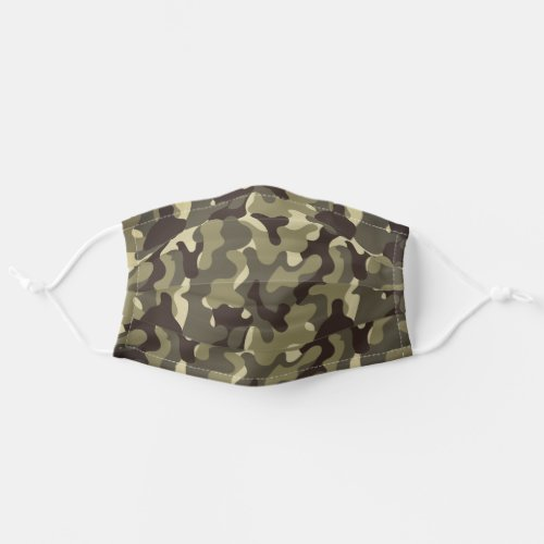 Camouflage Army Green Brown Cloth Face Mask
