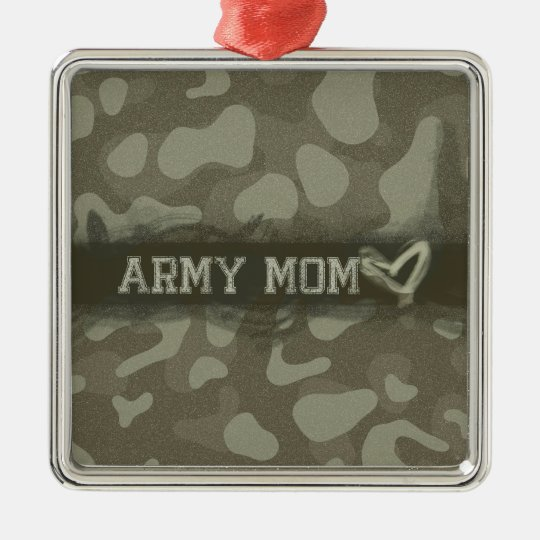 Camouflage Army Mom Heart of Love Metal Ornament