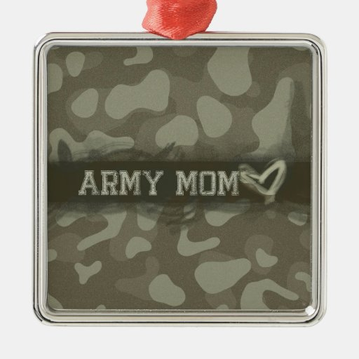 Camouflage Army Mom Heart of Love Square Metal Christmas Ornament