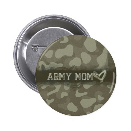 Camouflage Army Mom Heart of Love Pinback Button