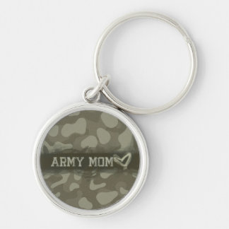 Camouflage Army Mom Heart of Love Silver-Colored Round Keychain