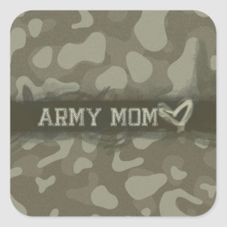 Camouflage Army Mom Heart of Love Square Sticker