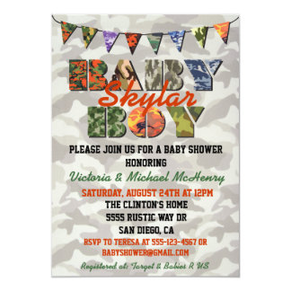 Camouflage Baby Boy Baby Shower Invitations