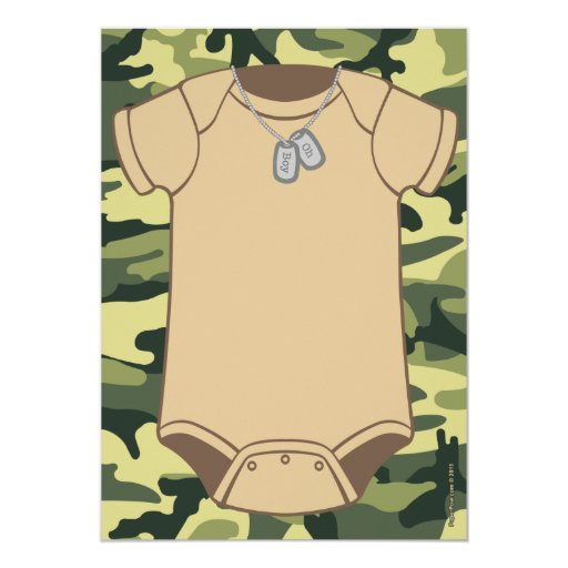 "Camouflage Baby Shower Invitations 5"" X 7"" Invitation Card"