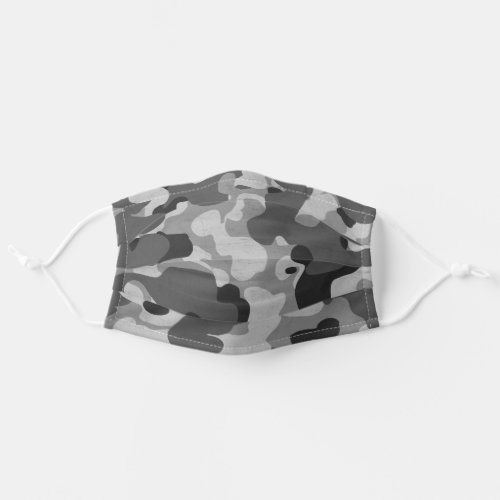 Camouflage Black and Gray Military Camo Pattern Adult Cloth Face Mask