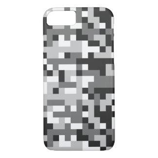 camouflage black & white design pixel art iPhone 7 case