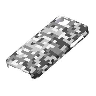 camouflage black & white design pixel art iPhone SE/5/5s case