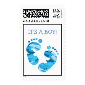 Camouflage Blue Baby Feet IT S A BOY STAMP