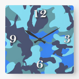 Camouflage Blue Square Wall Clock