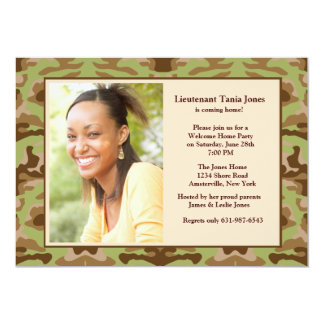 Camouflage Brown Photo Invitation