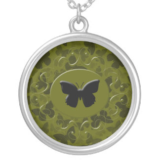 Camouflage Butterflies Round Pendant Necklace