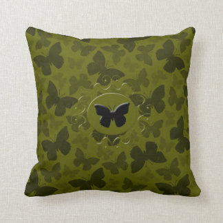 Camouflage Butterflies Throw Pillow